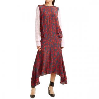 Preen Line Eimear Paneled Printed Crepe Midi Dress