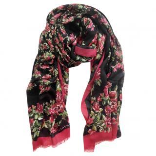 Dolce & gabbana black Red Roses cashmere blend scarf