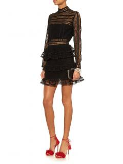 Self Portrait Tiered Guipure Lace Mini Dress