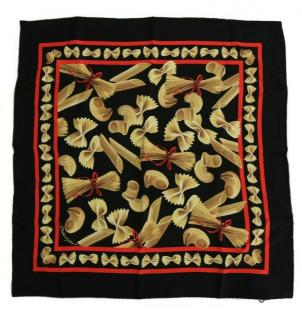 Dolce & Gabbana Italy pasta print silk scarf