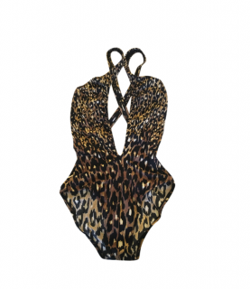 Gottex Silver Animal Magnetism Cut Out One Piece in Brown UK10 or UK12