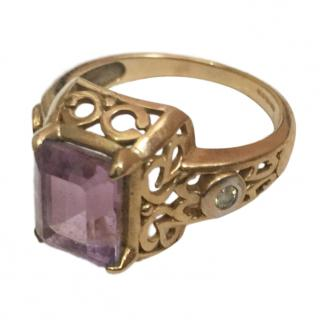 vintage amethyst and white diamond ring