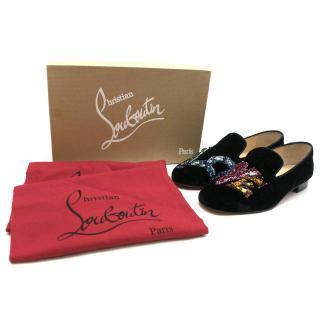 Christian Louboutin Solove Velvet Embellished Loafers