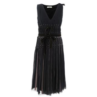 ea1f223f31e Prada Black Pleated Silk Midi Dress