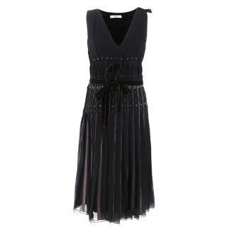 Prada Black Pleated Silk Midi Dress