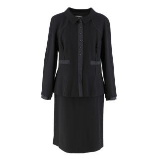 Chanel Vintage Black Wool Skirt and Jacket Set