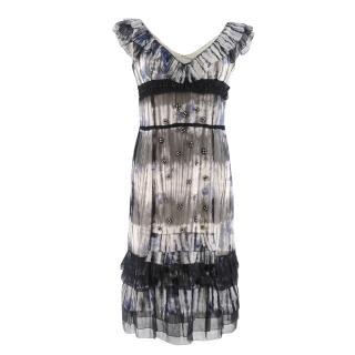 Prada Embellished Ruffle-Trimmed Dress