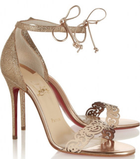 Christian Louboutin Valnina 100 glitter-finished & leather sandals