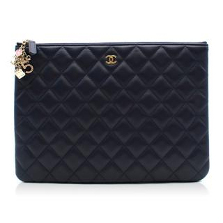 Chanel Navy Lambskin Classic Pouch