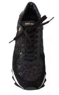 Dolce & Gabbana black leather glitter shark trainers