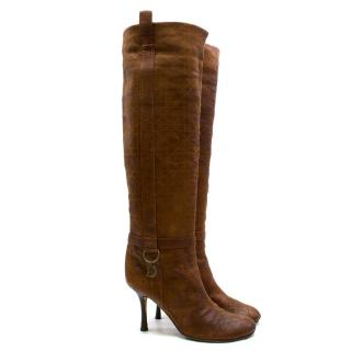 Christian Dior Vintage Tan Cannage Leather Boots