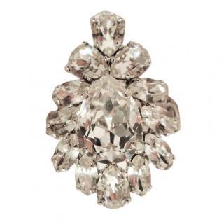 Dior crystal rhinestone silver metal tone ring