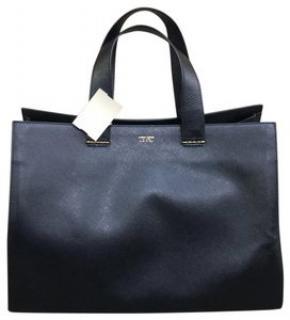 Giorgio Armani Charniere Doree Leather Medium Navy Blue Tote Bag