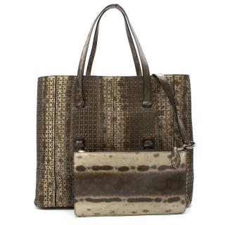 Alaia Petal Laser-Cut Watersnake & Leather Tote