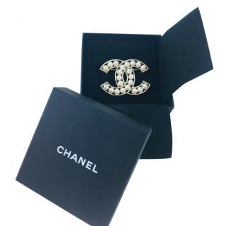 Chanel Gold Tone Faux Pearl CC Brooch