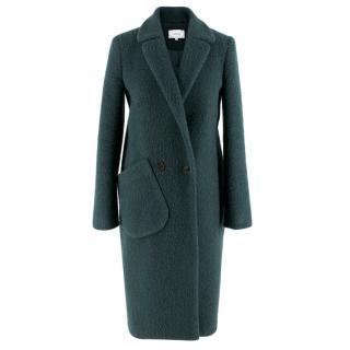 Carven Notch-Lapel Boiled Wool-Blend Coat in Green