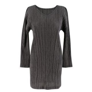 Pleats Please Grey Long Sleeve Pleated Dress