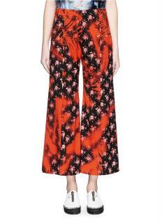 Acne Studios 'Olexa' Print Flare Crop Silk Blend Pants