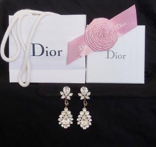 Dior crystal rhinestone clip-on earrings