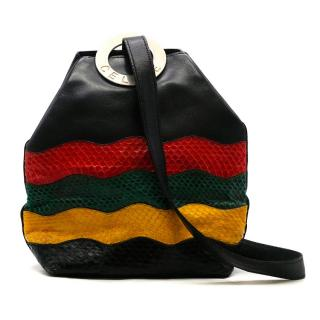 Celine Multi Colored Leather & Python Skin Bucket Bag