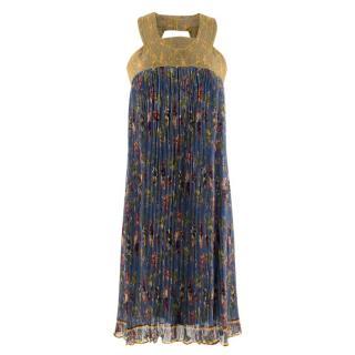 Jean Paul Gaultier Floral Print Pleated Silk Dress