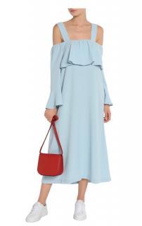 Ganni pale blue cold-shoulder midi dress