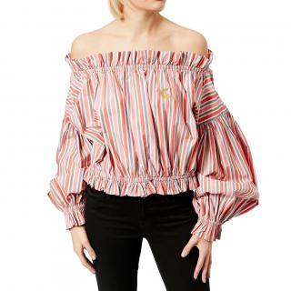 Vivienne Westwood Anglomania striped off-the-shoulder blouse