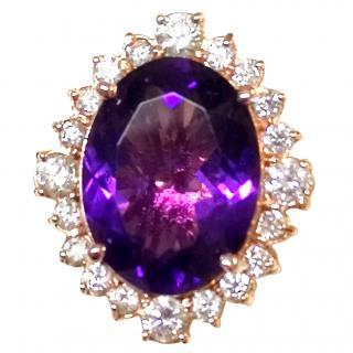 Bespoke Amethyst & Diamond Cluster Ring Rose Gold