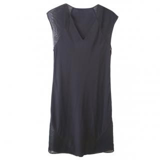 T by Alexander Wang Silk Dress with Sheer Mesh Inserts