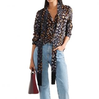 Equipment pussy-bow leopard-print blouse
