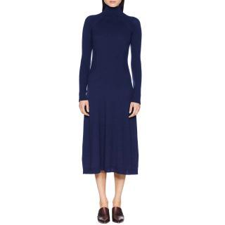 Sportmax Navy Wool Knit Rib Detail Turtleneck Fit & Flare Midi Dress