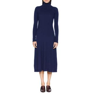 Sportmax Navy Wool Knit Rib Detail Turtleneck Fit & Flare Midi Dress