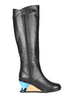 Issey Miyake leather metallic and wood wedge knee-high boots