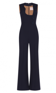 Roksanda Blue Wool Wrap Jumpsuit