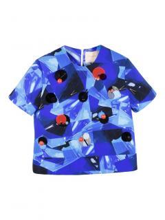 Roksanda embellished collage-print neoprene blue top