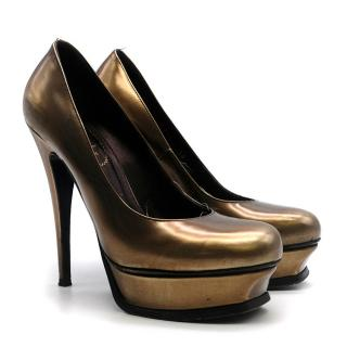 Yves Saint Laurent Bronze Platform Pumps