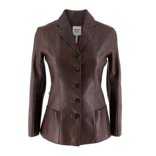 Hermes Paris Brown Calfskin Leather Jacket
