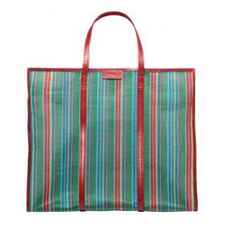 Balenciaga XL Mesh Striped Bazar Shopper Bag