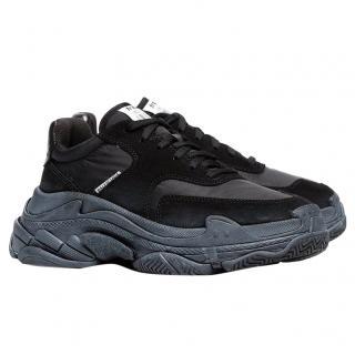 Balenciaga Black Velvet Triple S Sneakers