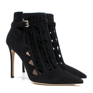 Gianvito Rossi Black Cut-Out Suede Ankle Boots