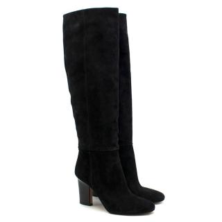 Samuele Failli Black Suede Long Heeled Boots