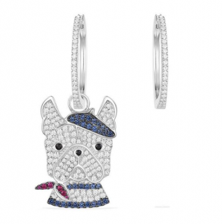 Apm Monaco Doggy Collection Crystal Hoop Earrings