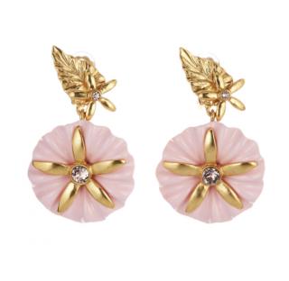 Oscar De La Renta Morning Glory Pink Earrings