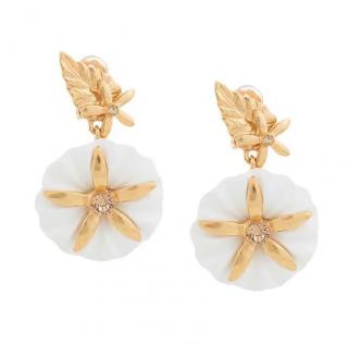 Oscar De La Renta Morning Glory White Earrings