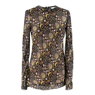 Chloe Printed Sheer Long Sleeve Top