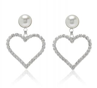 Alessandra Rich Crystal & Pearl Heart Clip Earrings