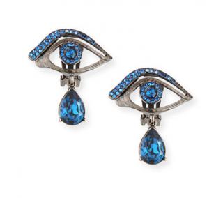 Oscar De La Renta Blue Crystal Eye Clip-On Earrings