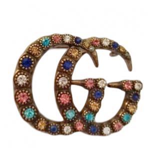 Gucci GG Multicolour Crystal Brooch