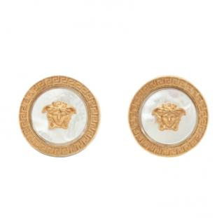 Versace Mother Of Pearl Medusa Stud Earrings - New Season