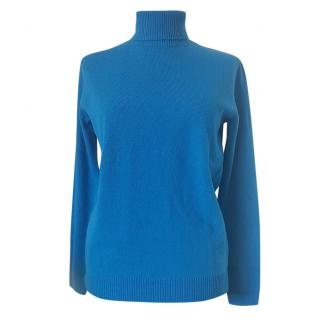 Max Mara Virgin Wool Blue turtleneck jumper